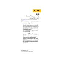 Fluke 830 Laser Shaft Alignment Tool - Safety Information