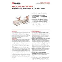 Megger KF875 (6111-636) Portable Karl-Fischer Oil Test Set - Datasheet