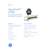 GE Druck AquaTrans™ AT600 Ultrasonic Liquid Flow Meter - Datasheet