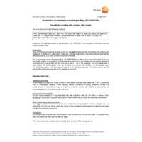 Testo 110-1 1-Channel NTC Digital Thermometer - Declaration of Conformity (Reg (EU) 1935-2004)
