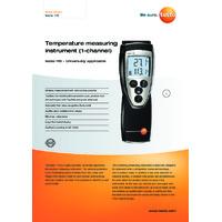 Testo 110-1 1-Channel NTC Digital Thermometer - Datasheet