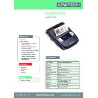 Kewtech KEWPRINT1 Bluetooth Label Printer - Datasheet