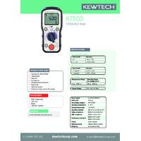 Kewtech KT500 Digital RCD Tester - Datasheet