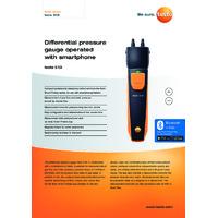 Testo 510i Bluetooth Differential Pressure Gauge Smart Probe & Data Logger - Datasheet