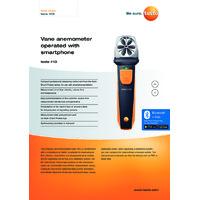 Testo 410i Bluetooth Vane Anemometer Smart Probe & Data Logger - Datasheet