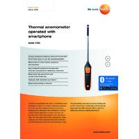 Testo 405i Bluetooth Thermal Anemometer Smart Probe & Data Logger - Datasheet