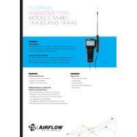 TSI Airflow™ TA410 Hot Wire Anemometer - Datasheet
