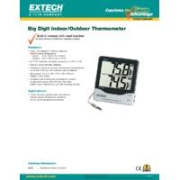 Extech 401014 Big Digit Indoor & Outdoor Thermometer - Datasheet